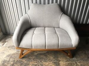"Newly upholstered mid century modern oversized ""Gondola"" chair"
