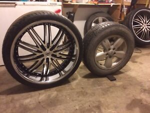 "26"" lexani rims with 80 tread 295/30s 6 bolt Chevy"