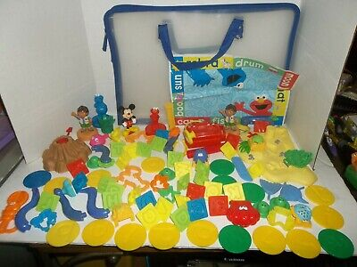 huge lot of play doh dough accessories mat cutter stamper mixed lot characters Play Dough Mix