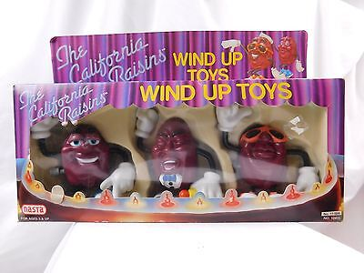 Vintage 1988 California Raisins Wind Up Boxed 3 Figure Set by Nasta NICE!!!