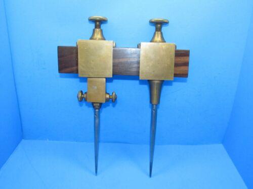 pair stout bronze precision trammel points w/ unique pivoting fine adjusment