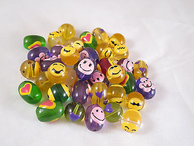Emoji Glass Beads Hippie Happy Face Mix Round Oval  15mm x 12mm 20 pcs
