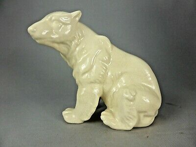 OURS ASSIS GRIZZLY OURS BLANC EN CERAMIQUE CRAQUELEE LV CERAM SITTING BEAR 934