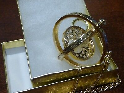 Harry Potter Gold Time Turner Hermione Granger Rotating Hourglass Necklace NICE!