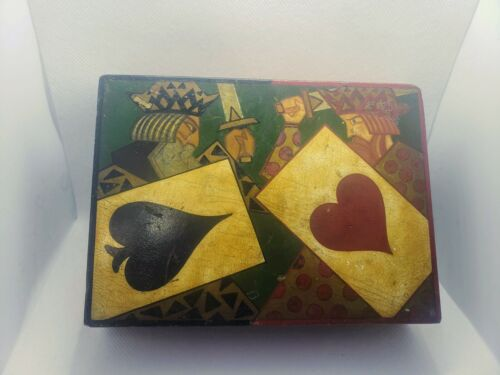 Vintage Russian Painted Card Box Circa 1830s