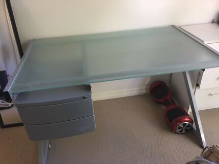DESK Frosted Glass And Metal