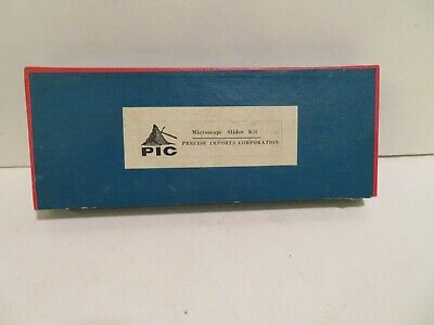 30 Vintage P I C Glass Microscope Slides New In Cardboard Box Covers