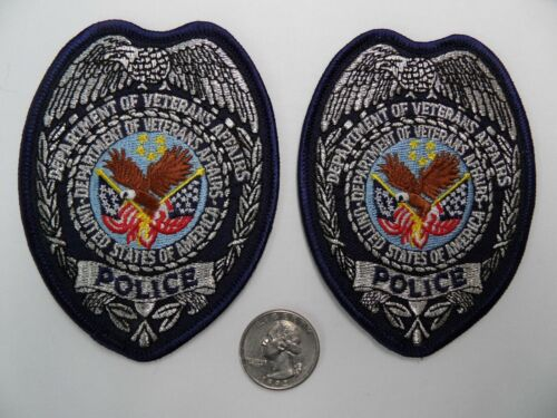 2 Lot DEPT of VETERANS AFFAIRS POLICE PD Metallic Silver Mylar breast patches