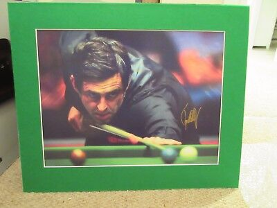 Ronnie O'Sullivan signed photo in stunning snooker baize mount (proof)