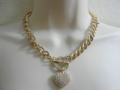 GUESS Gold Tone Chunky Chain Choker Necklace Heart Charm Gold Heart Charm Necklace