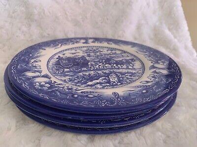 Royal Stafford Cobalt Blue Salad /Luncheon Plates Set of 4 Coach Scene Horses Cobalt Blue Luncheon Plate