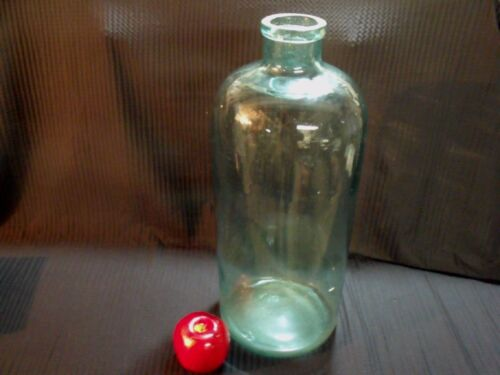 """LARGE 18"""" TALL ANTIQUE 19TH CENTURY MOLD BLOWN GREEN GLASS BOTTLE"""