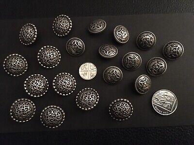 Vintage Silver Coloured Metal Buttons. Two Designs. Ten Of Each Design. Superb.