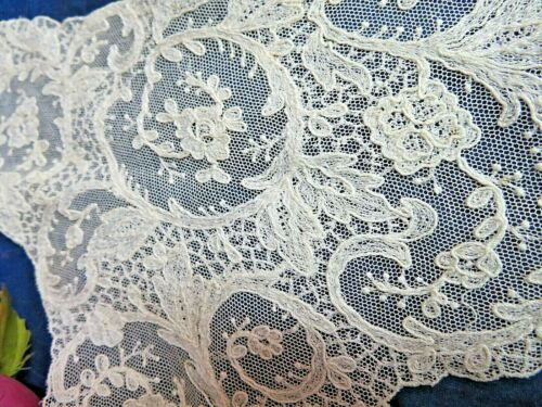"""ANTIQUE embroidered net LACE Tambour COLLAR Bodice front piece 10 x 15"""""""