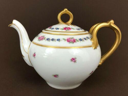 L Bernardaud Limoges Fontenay Pink Roses Teapot Heavy Gold Handle 5 1/2