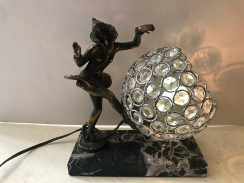 Vintage Art Deco Table Lamp with Marble Base