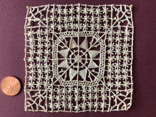 Vintage handmade fancy square large needle lace insert   - SEW CRAFT COLLECT