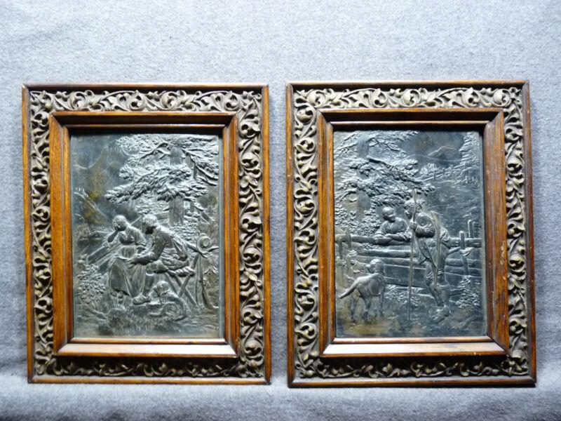 Unusual And Nice Pair Of European Framed Metal Plaques in Nice Frames