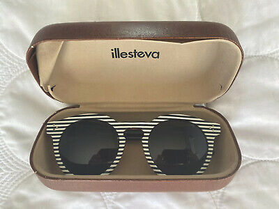 illesteva leonard sunglasses black & white stripe