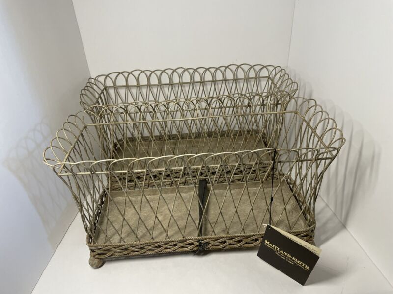 Gorgeous New with Maitland Smith tags 2 large metal baskets planters