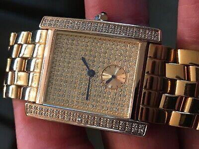 CROTON UNISEX DIAMOND PROTOTYPE WATCH 22K GOLD 1.87 CARATS OF DIAMONDS SAPPHIRE!
