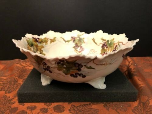 "Antique Footed French Limoges 10"" Center Bowl Hand Painted Grapes Vines Leaves"