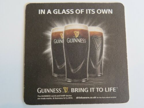 2010 Beer Coaster ~ GUINNESS Brewing ~ Dublin Ireland In A Glass of Its Own