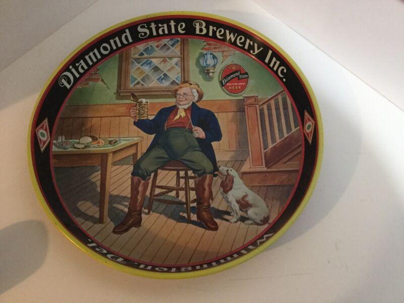 Vintage Diamond State Brewery Metal Beer Tray, 1930's