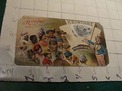 vintage Mechanical TradeCard: KEYSTONE w Farming items; UNCLE SAM showing world