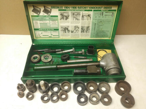 Greenlee knockout punch driver set, and parts ratchet