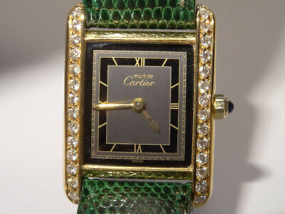 Ladies CARTIER RetroDeco Tank Watch 0.56ct Custom Diamond Bezel Cartier Box Band