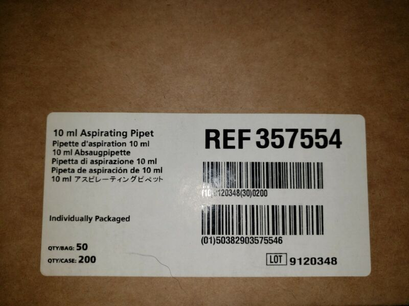 Case of 200 Falcon 357551 10mL Serological Pipet Polystyrene 2023 exp.