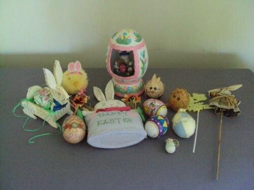 Vintage To New Easter Lot Music Box, Eggs, Bunny