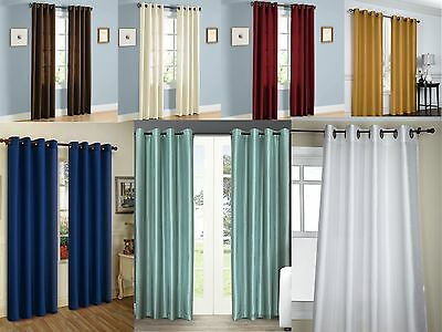 NEW Empire Solid Faux Silk Window Curtain Panel With bronze Grommets - All Sizes