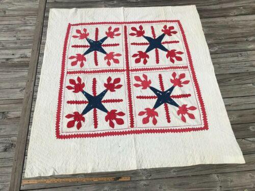 UNUSUAL Red White and Blue Antique Applique Quilt