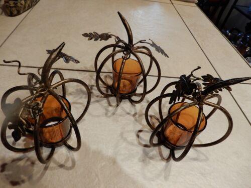 "Pier One -Three  6"" Small Metal Pumpkin Votive Holders"