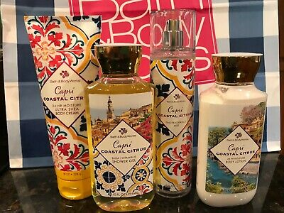 Bath & Body Works Capri Coastal Citrus Body Lotion Cream Mist Shower Gel x4 New
