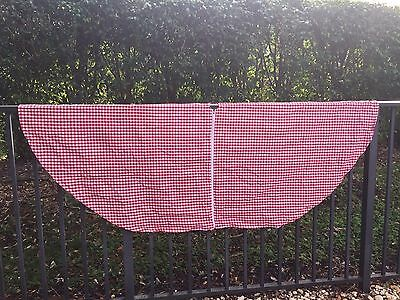 OVAL Outdoor Tablecloth w/Umbrella Hole & Zip~Red&White Gingham Check~All COTTON