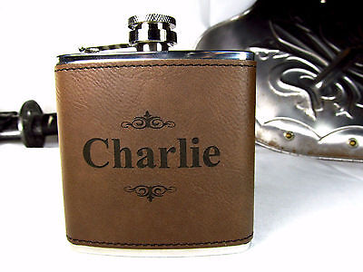 Personalized Engraved Brown Leather Hip Flask Custom Groomsmen Gifts - Customized Flasks