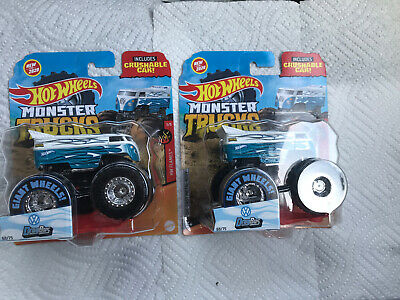 LOT 2 HOT WHEELS MONSTER TRUCKS VW DRAG BUS W/CRUSHABLE CAR NIP 2020- FREE SHIP