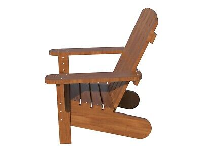 Adirondack Chair Plans DIY Patio Lawn Deck Garden Furniture Stool Outdoor Wood