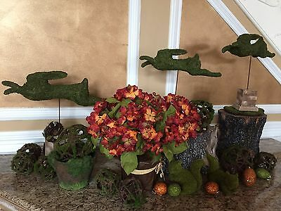 Easter Set of 3 Artificial Topiary Moss Covered Rabbit Forms Spring Garden Moss Form Topiary