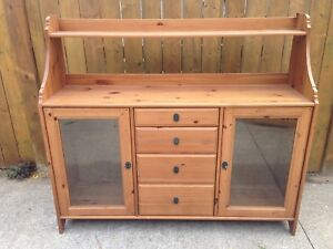 Solid pine buffet/china cabinet
