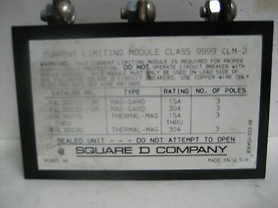 Square D Current Limiting Module Class 9999  Clm-2  Wg-340