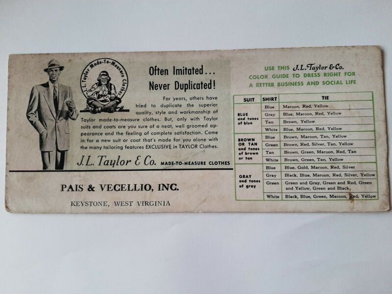 Antique J.L. TAYLOR & CO. Advertising Ink Blotter Made To Measure Clothes Suits