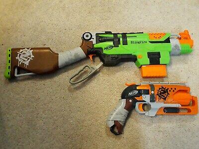 Nerf Zombie Strike lot Hammershot Blaster Toy and Slingfire Rifle Blaster