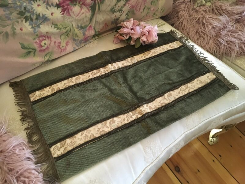 Antique Victorian Green Velvet Table Runner Metal Work Trim #3