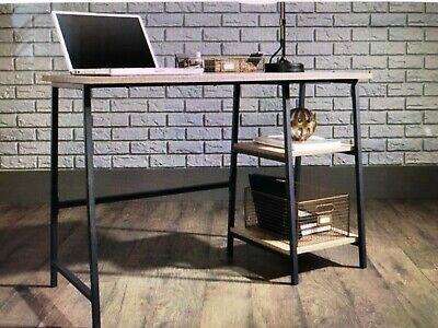 Industrial Desk Workstation Black Oak Home Office Furniture Vintage Retro Chic