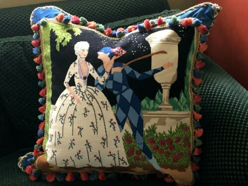 """HUGE WHIMSICAL VINTAGE NEEDLEPOINT TAPESTRY PILLOW Mackenzie Childs style 25""""x25"""