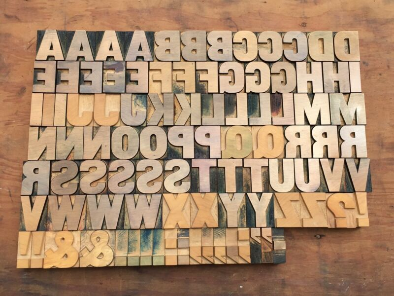 Antique VTG Wood Letterpress Print Type Block A-Z Letters Alphabet Complete Set